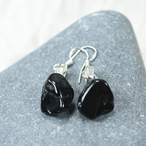 Dangling Tourmaline Earrings - Custom Black Tourmaline Stone Earrings on Sterling Silver French Hooks