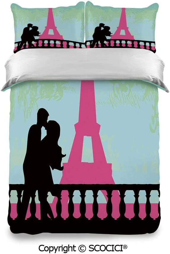 SCOCICI Bedding Set Pillowcase and Sheet Couple in Paris Near The Eiffel Tower Valentines Day Hand Drawn Style Decorative Fashion Designs Warm, Cozy, Lightweight, Luxury Winter Bed Sheets