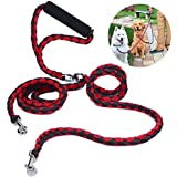 Double Dog Leash Coupler, PETBABA 1.4m/4.6FT Length Braided No Tangle Padded Handle Dog Lead for 2 Dogs Red