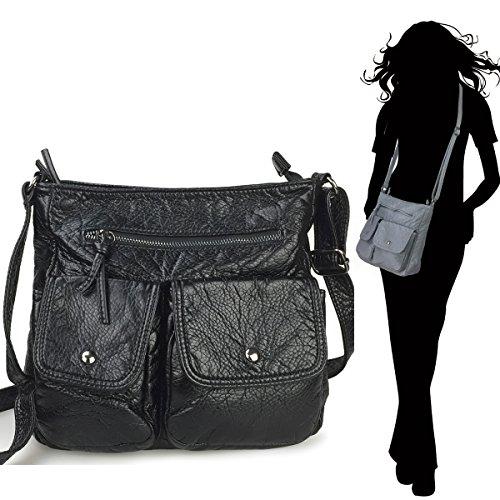 Lightweight Hobo Bag (Hoxis Lightweight Multi Pocket Washed Soft CrossBody Bag (Black))
