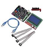fosa MKS-Base V 1.5 Motherboard & 12864 LCD Controller Panel Kit for 3D Printer, 3D Printer Replacement V1.5 12V - 24V Control Board Mainboard Mother Board Module Replace Parts