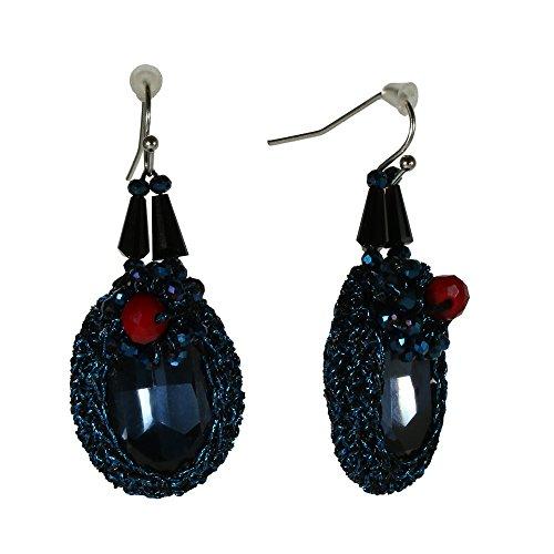 Elegant Silvertone Women Blue Drop Oval Earrings Glass Beads Victorian Dangle Jewelry (Dark Blue) Item Glass Beads Earrings Jewelry