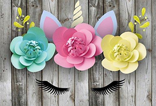 Leyiyi 10x6.5ft Photography Background Fairy Tale Unicorn Backdrop 3D Paper Flowers Wedding Vintage Wooden Floor Pom Pom Eyelash Enchanted Horn Birthday Baby Shower Photo Portrait Vinyl Studio Prop