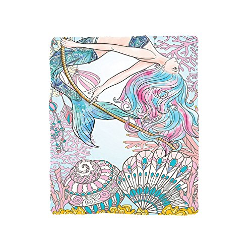 Kisscase Custom Blanket Mermaid Cartoon Mermaid in Sea Sirens of Greek Myth Female Human with Tail of Fish Image Bedroom Living Room Dorm Pink Blue