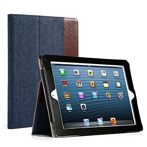 RUBAN iPad 2/3/4 Case Release [Corner Protection]-[Scratch-Resistant] and High-grade PU Leather Folio Stand Smart Cover, Auto Wake/Sleep for Apple iPad 2th/3th/4th Gen with Retina Display,Denim Indigo