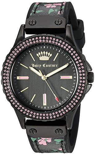 White Juicy Leather Couture - Juicy Couture Black Label Women's  Swarovski Crystal Accented Black and Floral Leather Strap Watch