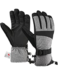 Ski Gloves, Snowproof 3M Thinsulate TPU Membrane Women's Winter Gloves with Non-Slip PU Palms for skiing, snowboarding, riding, climbing and skating