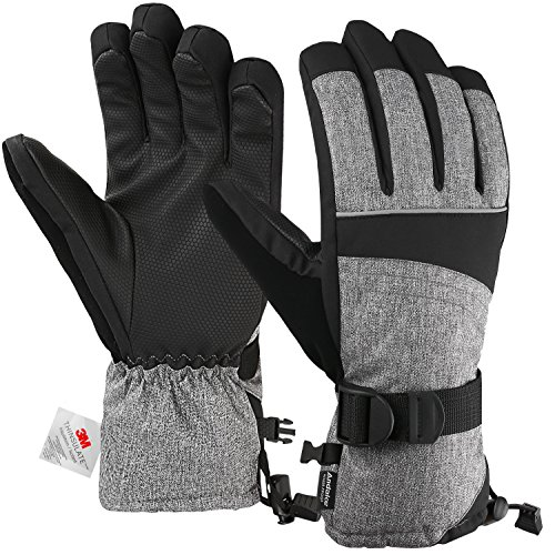 (Andake Ski Gloves, Snowproof 3M Thinsulate TPU Membrane Women's Winter Gloves with Non-Slip PU Palms for skiing, snowboarding, riding, climbing and skating (Gray,)