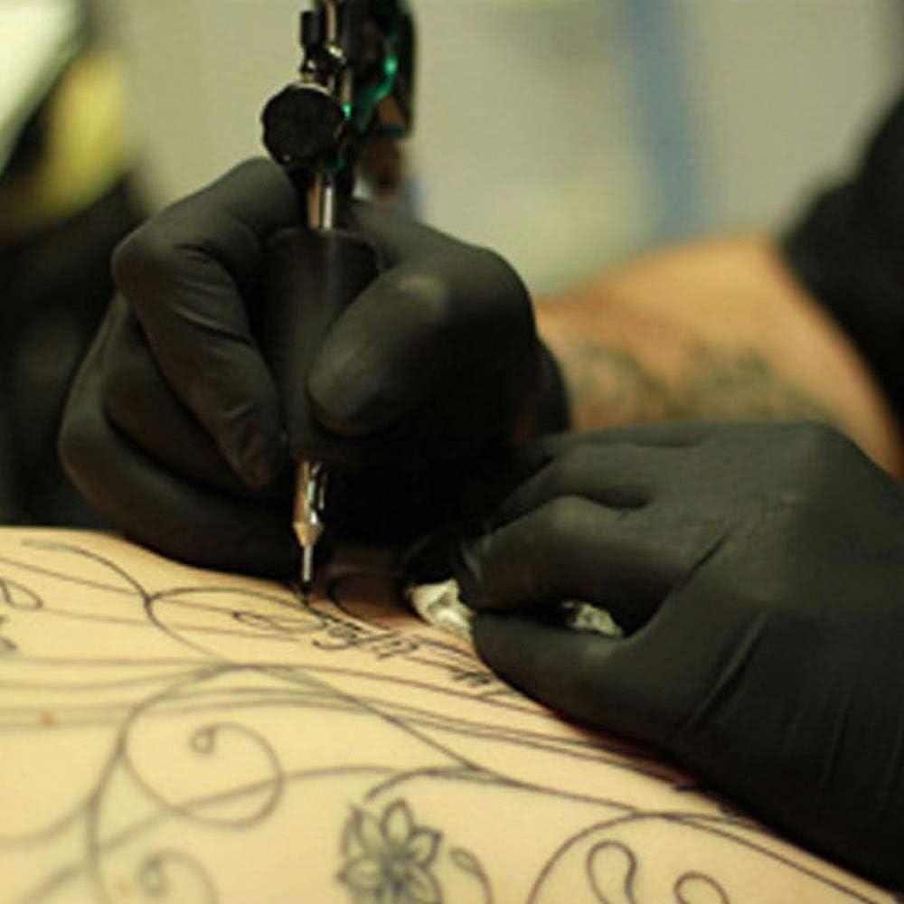 Dasongff Einweghandschuhe Viehzucht,Tattooist Tattoo Mechaniker Kneten 100 St/ück Nitrilhandschuhe Schwarz Einweg-Handschuhe Puderfreie Schutzhandschuhe Lebensmittelqualit/ät zum Backen
