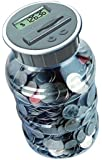 Digital Coin Bank Savings Jar by DE - Automatic Coin Counter Totals all U.S. Coins including Dollars and Half Dollars - Original Style, Clear Jar