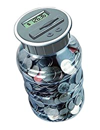 Digital Coin Bank Savings Jar by DE - Automatic Coin Counter Totals all U.S. Coins including Dollars and Half Dollars - Original Style, Clear Jar BOBEBE Online Baby Store From New York to Miami and Los Angeles