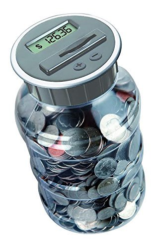 Digital Coin Bank Savings Jar by DE - Automatic Coin Counter Totals All U.S. Coins Including Dollars and Half Dollars - Original Style, Clear Jar w/Grey Lid