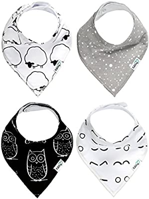 Nikitony Baby Bandana Drool Bibs - Super Soft And Absorbent With Adjustable Snaps - Great For Teething - Cute Unisex Gift Set Of Monochrome Style - 4 Pack