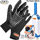 Pet Grooming Glove 2 in 1 Fur Pet Hair Remover Brush Dog Shedding Glove Cat Dog Grooming Glove Brush Great for Pet Bath Massage Best Gift Set for Pet Owner User Manual Included
