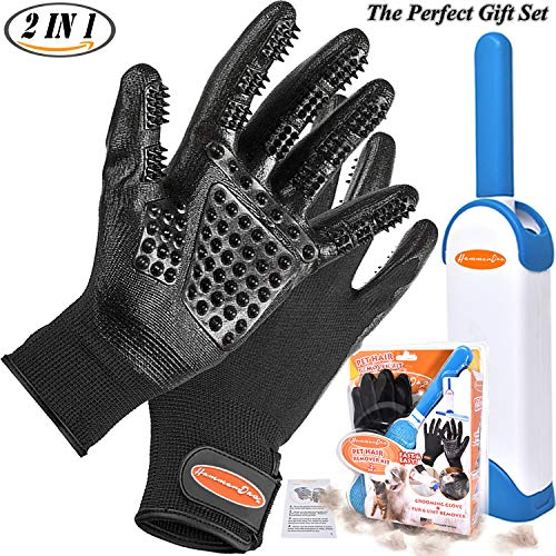 Pet Grooming Glove 2 in 1 Fur Pet Hair Remover Brush Dog Shedding Glove Cat Dog Grooming Glove Brush Great for Pet Bath Massage Best Gift Set for Pet Owner User Manual Included by HammerDas