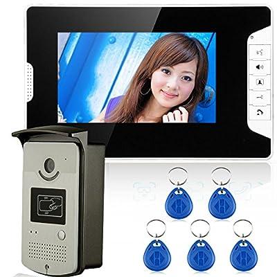 7'' Wired Color Video door phone Intercom HD Doorbell System Kit IR Camera Doorphone Monitor Speakerphone Intercom+5pcs key fobs