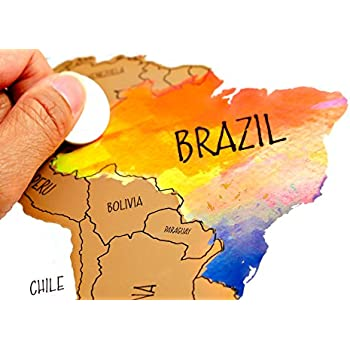 Amazoncom Landmass Travel Tracker Map Scratch Off Your - Maps of planes shipping goods us to brazil