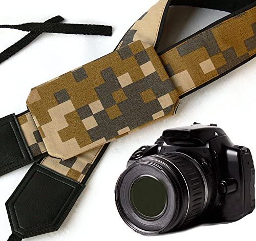 Durable Light Weight and Well Padded Camera Strap Camouflage Camera Strap with Cap Pocket Code 00251 Original Design DSLR//SLR Camera Strap