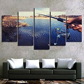 Moderne Wohnkultur Wohnzimmer Leinwand Vintage Wall Art Poster Frame 5  Stück Angelrute Malerei HD Gedruckt See
