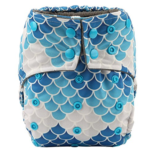 Double Gusset (Sigzagor Baby AIll In One Night AIO Cloth Diaper Nappy Sewn In 5 Layer Insert Reusable Washable (Scales))