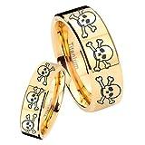 women and men Titanium 8 Skull and Bones Gold IP Pipe Cut Wedding Ring Set Size 6, 8