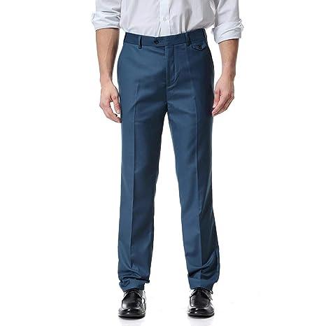 LuckyGirls Pantalones de Traje para Hombre Entallada Negocio Recto Suelto Pantalón 10 Colores Tallas S-