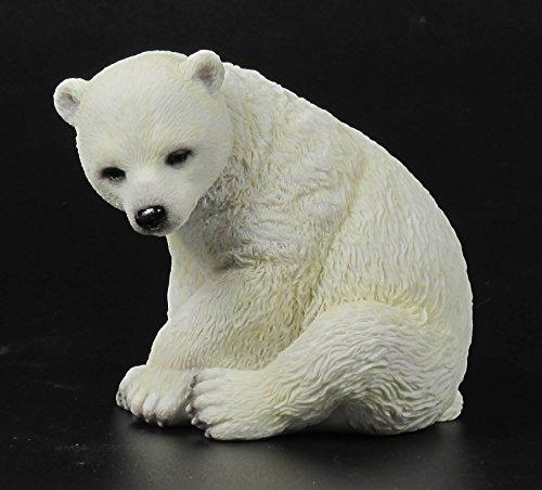 4.25 Inch Polar Bear Cub Sitting Decorative Statue Figurine, -