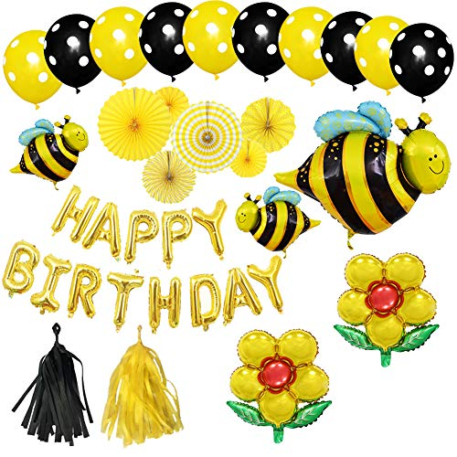 Honey Bee Themes Birthday Party Decorations Supplies-HAPPY BIRTHDAY,Bee and Flower Aluminum Foil Balloons,Dot Latex Balloons,Tassel and Paper Fans Decoration Set for Children Kids Party Decor