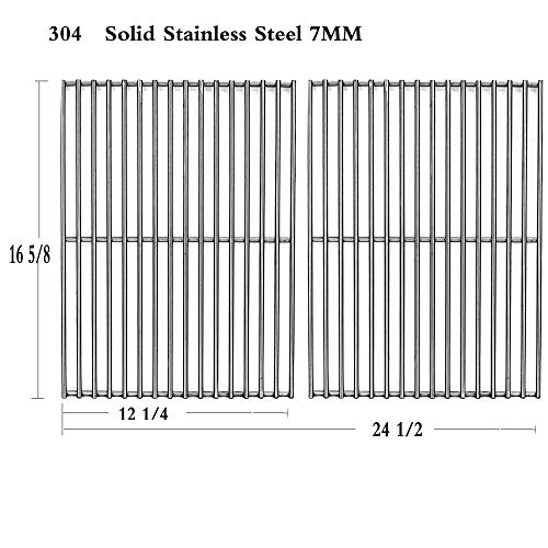 ) Stainless Steel Cooking Grid Replacement for Centro, Charbroil, Front Avenue, Fiesta, Kenmore, Kirkland, Kmart, Master Chef and Thermos Gas Grill ()
