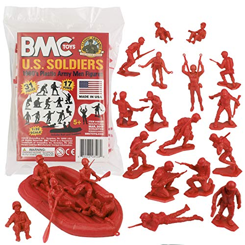 BMC Marx Plastic Army Men US Soldiers - Red 31pc WW2 Figures - Made in USA from BMC Toys