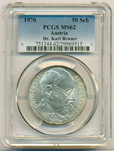 1970 AT Austria Silver Dr. Karl Renner 50 Schillings MS62 PCGS