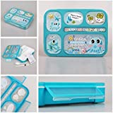 Shopaholic Plastic Best Wishes for You Lunch Box for kids/Teenagers (Light Blue)
