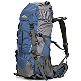 Loowoko Hiking Backpack 50L Travel Daypack Waterproof with Rain Cover for Climbing Camping Mountaineering by Dark Blue)