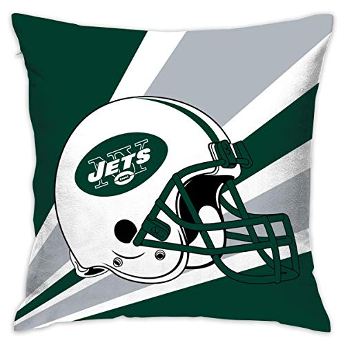 luckyly Custom Pillowcase Colorful New York Jets American Football Team Bedding Pillow Covers Pillow Cases for Sofa Bedroom Bedding Car Home Decorative - 18x18 Inches