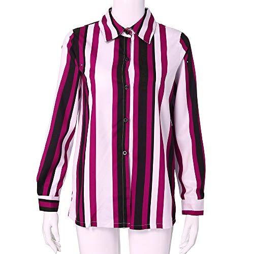 Col Casual Blouse Mode SANFASHION Shirt Vtement Chemise Rayures Rose lgant Vintage Haut Travaille V xAgapzX