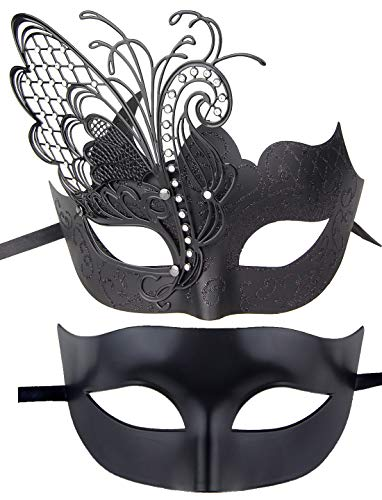 IETANG Couples Pair Half Venetian Masquerade Ball Mask Set Party Costume Accessory (Butterfly-Black) -