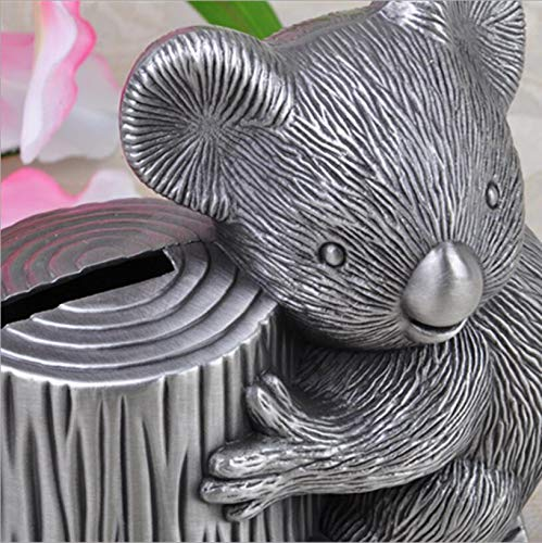 Bear Piggy - Lazy Bear Piggy Bank Koala Change Jar Creative Metal Crafts Gifts - Gift Saver Insert Ceramic Spend Slot Disguise Reception Kids Organizer Cake Teenage Donation Dispenser Wedding