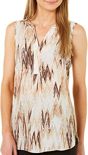 Zac & Rachel Women Chevron Print Sleeveless Top X-Large Tan Beige/Multi