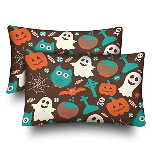 SPXUBZ Halloween Seamless Pattern Ghost Pumpkin Owl Home Decor Gift Rectangular Indoor Cotton Pillowcase (Two Sides),2PC]()