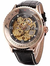 KS Carving Rose Gold Case Skeleton Auto Mechanical Leather Elegant Mens Wrist Watch KS112