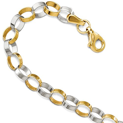 14k Yellow and White Gold 5mm Two Tone Circle Link Bracelet, 7 Inch 14k Yellow Gold Rolo Bracelet