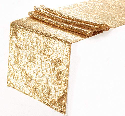 Eternal Beauty Sequin Table Runners Gold 12'' X 108'' Glitter Gold Table Runner-Gold Event Party Supplies Fabric Decorations for Wedding Birthday Baby Shower]()