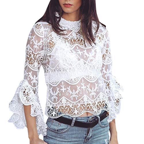 (Mnyycxen Women Casual Scalloped Trim Half Bell Sleeve Sheer Floral Lace Blouse Tops)