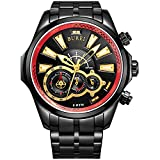 BUREI Men's Luminous Hands Chronograph Analog Watch with Link Bracelet, Black Red Bezel Black Dial