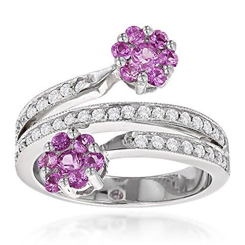 Pink Topaz Flower (Ladies Natural 0.4 Ctw Diamond Right Hand Rings 14K Pink Topaz Flower Design Ring (White Gold Size 7))