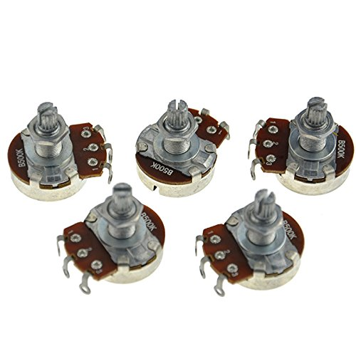 B500k Electric Bass Guitar Potentiometers Audio Volume Tone Pots Long Split Shaft Taper 18mm Pack of 5