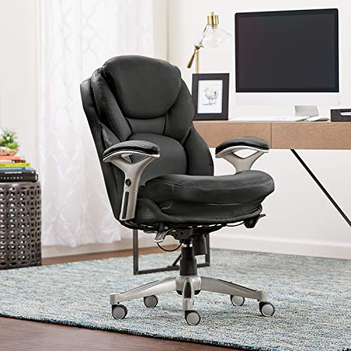 Upholstered Chair Chestnut - Serta Works Ergonomic Executive Office Chair with Back in Motion Technology, Black Bonded Leather
