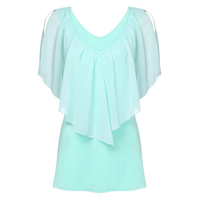 Image Unavailable. Image not available for. Color  EbuyChX Trendy Plunge  Neck Layered Flounce Women Chiffon T-Shirt ... ad83e4654
