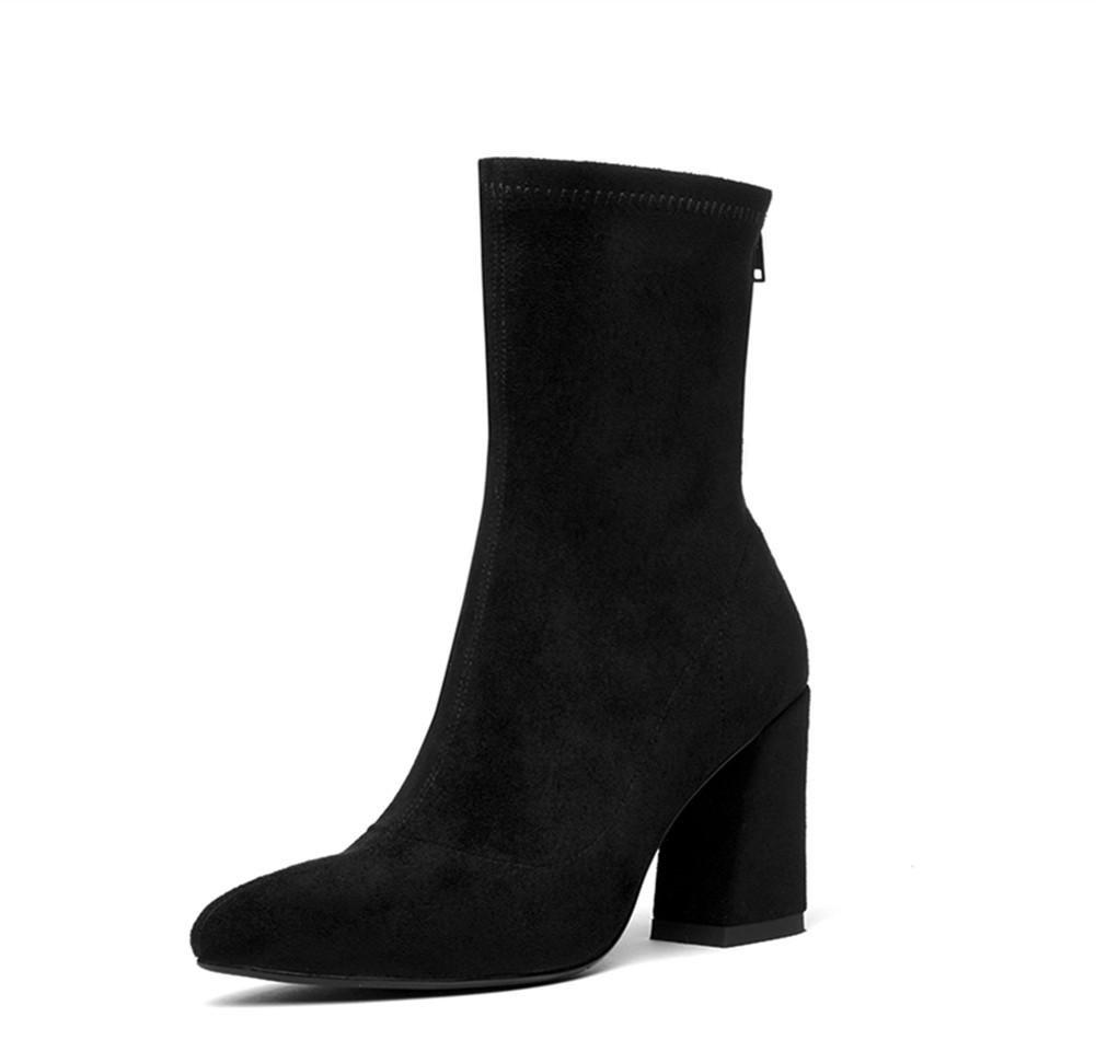 Damen Kurze mittlere Stiefel Martin Stiefel Neue Mode Spitze Zehe Grobe High Heel Scheuern Schwarz Braun Grau Herbst Winter Feier Arbeit