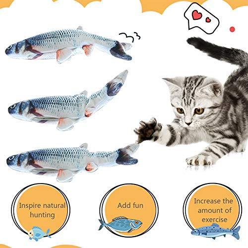 HLovebuy Catnip Fish Toys, Realistic Plush Simulation Electric Doll Fish,Cat Wagging Fish Realistic Plush Toy, Simulation Catnip Soft Interactive Chewing Toy for Cat/Kitty/Kitten 4